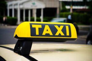taxi, schild, auto